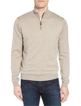 Cotton & Silk Quarter Zip Pullover by David Donahue