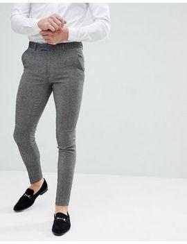 Asos   Pantalon Habillé Ultra Skinny En Laine Mélangée   Gris Foncé by Asos