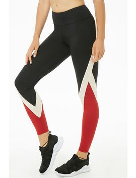 Active Colorblock Print Leggings by Forever 21