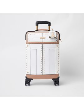 White Stud And Eyelet Suitcase by River Island