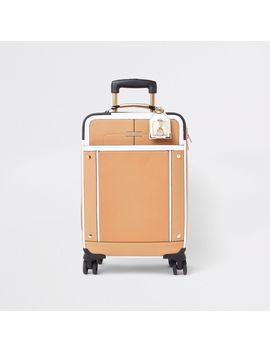 Beige Front Pocket Four Wheel Suitcase by River Island