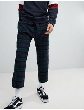 Asos Design Tapered Pants In Check With Asymmetric Front by Asos Design