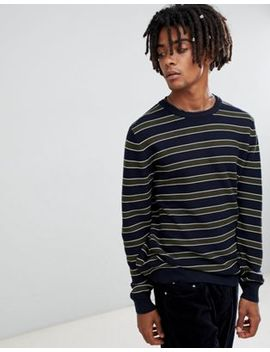 Pull&Bear Sweater In Navy With Stripes by Pull&Bear
