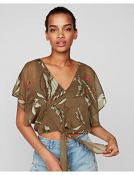 Floral Chiffon Tie Front Crop Top by Express
