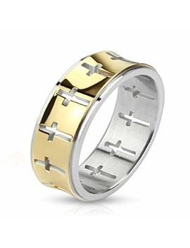 Stainless Steel Wedding Band Gold Ip Cross Pattern Design, Ring Width Of 5 Mm by Crazy2 Shop