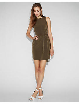 Sash Waist Sleeveless Shift Dress by Express