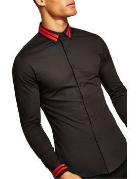 Muscle Fit Stripe Collar Shirt by Topman