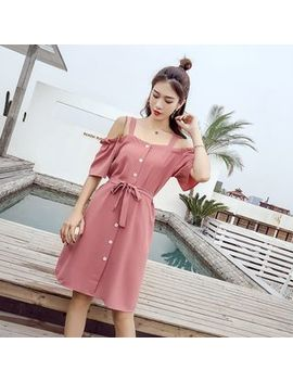 Short Sleeve Cold Shoulder Buttoned Chiffon Dress With Sash by Sienne