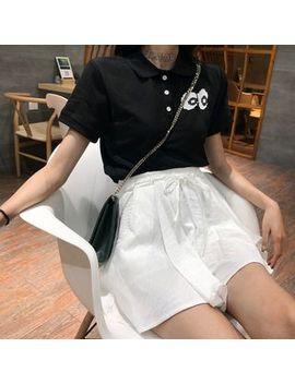 Short Sleeve Eyes Print Polo Shirt / Drawstring Waist Culottes by Tomoca
