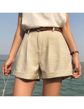 Cuffed Plaid Shorts With Belt by Fabricino