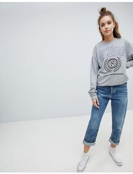 Asos Design Sweatshirt With Michigan Print In Gray Marl by Asos Design