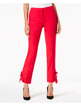Bow Trim Straight Leg Pants by Nine West