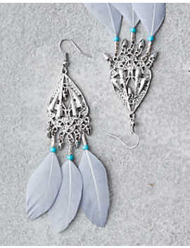 Aeo Chandelier Feather Statemtent Earrings by American Eagle Outfitters