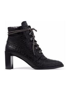 Gigi Croc Effect Leather Ankle Boots by Stuart Weitzman