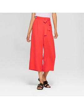 Women's Wide Leg Belted Pants   Éclair Red by Eclair