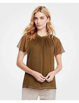 Petite Pleated Split Neck Top by Ann Taylor