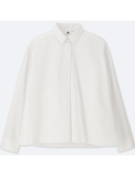 Women Extra Fine Cotton A Line Long Sleeve Shirt by Uniqlo