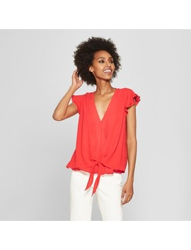 Women's Flutter Sleeve Tie Front Blouse   Éclair Red by Eclair