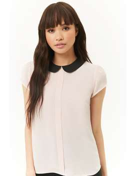 Chiffon Pleat Front Collar Top by Forever 21