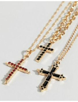 Uncommon Souls Multi Row Cross Necklace by Uncommon Souls