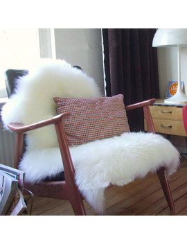 Super Soft Faux Sheepskin Chair Cover Warm Hairy Carpet Seat Pad Fluffy Rugs,White by Cimiva