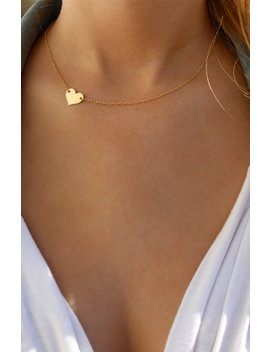 Small Heart Necklace / Sideways Heart Necklace / Delicate Gold Filled Heart / Gold Heart / Side Heart Necklace / Off Centered Gold Heart by Etsy