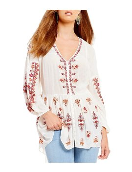 Arianna Woven Embroidered Balloon Sleeve Tunic Top by Generic