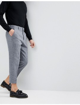 Asos Tapered Smart Trousers In 100 Percents Wool Harris Tweed In Light Grey Check by Asos