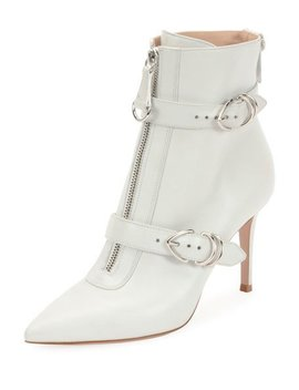 Napa Buckled Zip Front Ankle Bootie, White by Gianvito Rossi