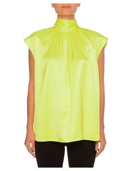 Sleeveless High Neck Back Bow Silk Top by Prada