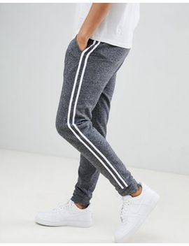 Asos Design Skinny Joggers In Charcoal Interest Fabric With Side Stripe by Asos Design