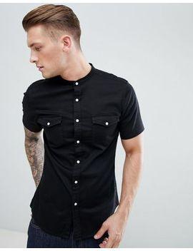 Asos Skinny Western Shirt In Black by Asos