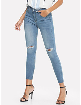Faded Wash Ripped Raw Hem Jeans by Shein