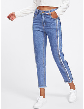 Dual Pocket Back Raw Edge Jeans by Sheinside