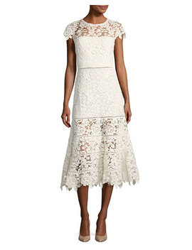 Celedonia Round Neck Fit And Flare Lace Guipure Midi Dress by Neiman Marcus