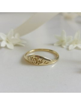 Gold Flower Signet Ring, Vintage Style Floral Crown Ring For Women, Unique Gold Wedding Ring, 14k Gold Wedding Band, Flower Wedding Band by Etsy