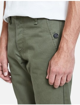 Work Trouser In Olive Herringbone by Rogue Territory