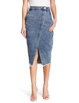Frayed Hem Midi Denim Skirt by One Teaspoon