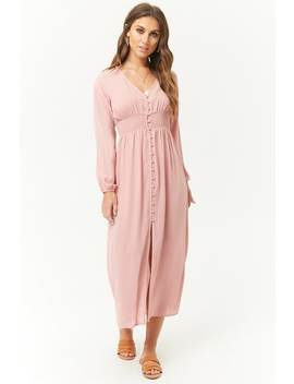Smocked Button Front Midi Dress by Forever 21