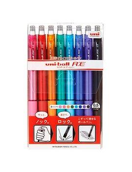 Uni Erasable Knock Ballpoint Pen, Uni Ball R:E, 8 Color Assorted (Urn180058 C) by Uni