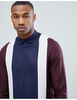 Asos Design Regular Fit Viscose Panel Cut And Sew Shirt by Asos Design