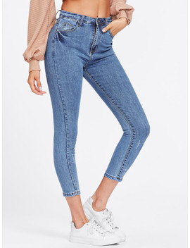 Scratches Crop Skinny Jeans by Sheinside