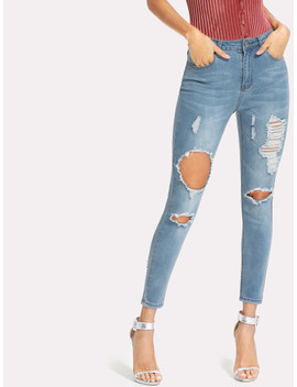 Bleached Wash Ripped Crop Jeans by Shein