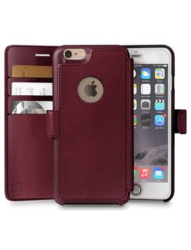 I Phone 6, 6s Wallet Case, Durable And Slim, Lightweight With Classic Design & Ultra Strong Magnetic Closure, Faux Leather, Burgundy, Apple 6/6s (4.7 In) by Lupa