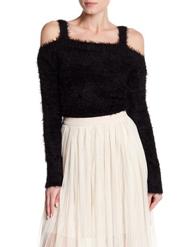 Fuzzy Knit Cropped Cold Shoulder Sweater by Bb Dakota
