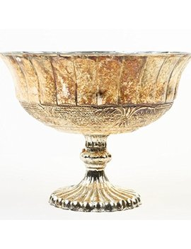 Koyal Wholesale Compote Bowl Centerpiece Mercury Glass Antique Pedestal Vase, Floral Centerpiece, (5 Inch, Burnt Gold) by Koyal Wholesale
