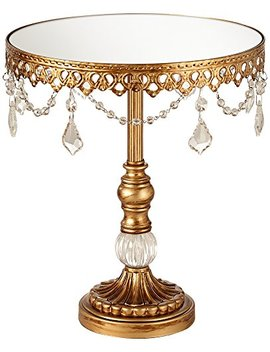 Dahlia Studios Antique Gold And Crystal Mirror Top 12x10 Round Cake Stand by Dahlia Studios