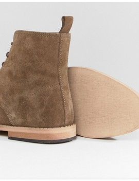 Asos Design Lace Up Boots In Taupe Suede With Natural Sole by Asos Design
