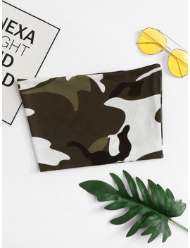Camouflage Bandeau Top by Sheinside