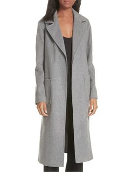 Notch Collar Edge To Edge Wool Blend Coat by Helene Berman